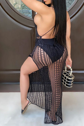 Black Sexy Sleeveless Asymmetrical Ankle-Length Mesh hole backless perspective hollow out asymmetrical Dresses