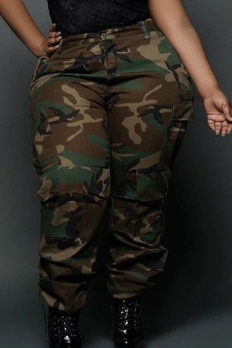 Camouflage Work Polyester Print Plus Size