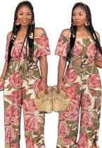 Pink Print High Waist Elastic Waist bandage Two-piece suit