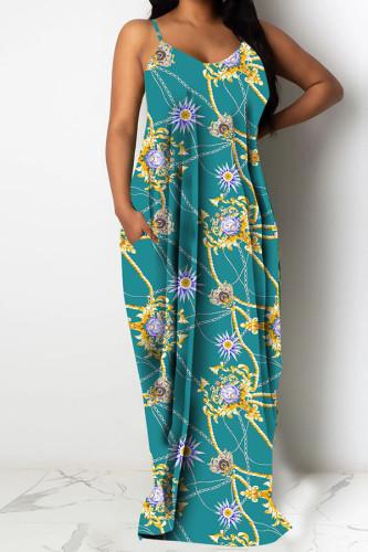 Light Green Polyester Fashion Sexy adult Ma'am Spaghetti Strap Sleeveless Slip Swagger Floor-Length Print Dresses