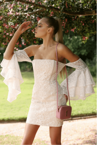 Apricot Sexy Off The Shoulder Long Sleeves One word collar Slim Dress Mini Lace Dresses OS41317