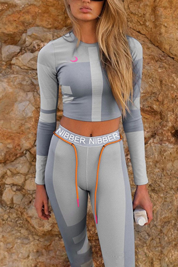 Grey Fashion Sportswear Adult Polyester Letter Patchwork Split Joint Letter O Neck Long Sleeve Regular Sleeve Regular Two Pieces