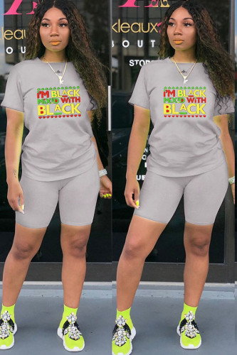 Light Gray Polyester Fashion Casual adult Ma'am Print Two Piece Suits pencil Short Sleeve Two Pieces