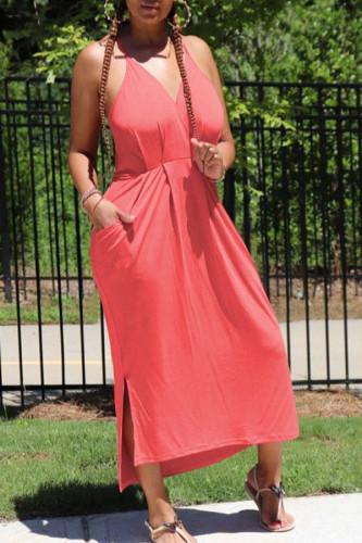 watermelon red Polyester Sexy Spaghetti Strap Sleeveless V Neck Step Skirt Knee-Length Solid Dresses