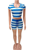 Pink Polyester Fashion adult England Ma'am Striped Print Two Piece Suits pencil Short Sleeve Two Pieces