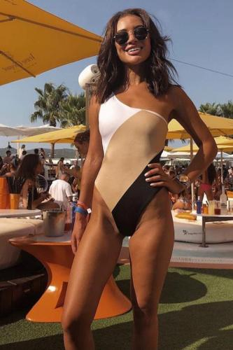 Leopard print Polyester Patchwork Asymmetrical Leopard backless Fashion Sexy One-Piece Swimwear