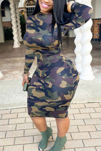 Camouflage Polyester Sexy Europe and America OL Long Sleeves O neck Step Skirt Mini Print camouflage Dresses