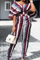 Multi-color Polyester Sexy Fashion Print Patchwork Loose Two-piece Pants Set