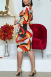 multicolor Fashion Casual British Style Elegant Polyester Cotton Blends Print Pierced Hollowed Out O Neck Pencil Skirt Plus Size