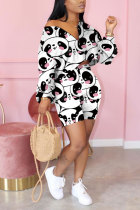 White Polyester Fashion adult Street Leopard Patchwork Print Character Two Piece Suits Straight Long Sleeve Two Pieces