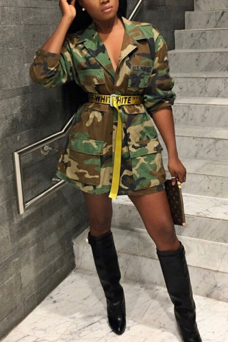 Army Green Turndown Collar Camouflage Cotton Others Long Sleeve Outerwear