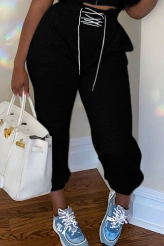 Black Polyester Drawstring Mid Solid Straight Pants BOTTOMS