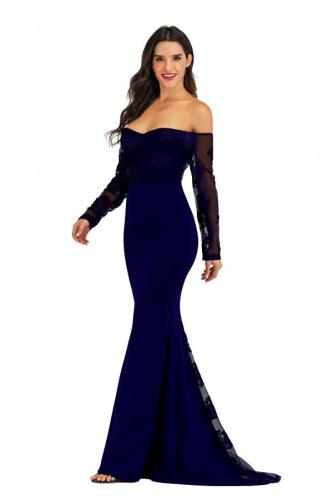 Royal blue Polyester adult Sexy Fashion Off The Shoulder Long Sleeves One word collar Mermaid Floor-Length Solid Floral Mesh lace LR171258