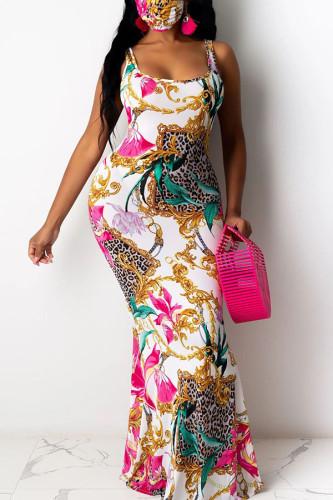White Polyester Fashion Sexy Europe and America Spaghetti Strap Sleeveless Half-Open collar Slim Dress Floor-Length Print Dresses