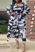 Black Fashion Sexy Adult Twilled Satin Print Split Joint O Neck Long Sleeve Regular Sleeve Long Two Pieces