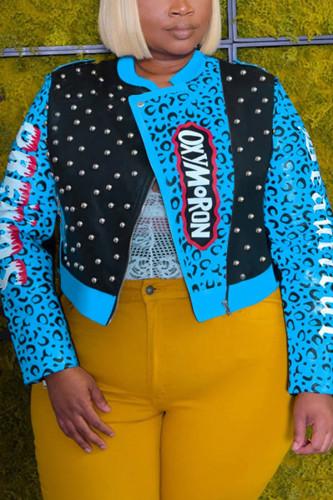 Black Fashion Street Adult Polyester Print Split Joint Turndown Collar Plus Size