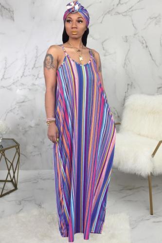 purple Polyester Sexy Fashion Tank Sleeveless Slip A-Line Floor-Length Print asymmetrical Striped Patchwork SMR391274