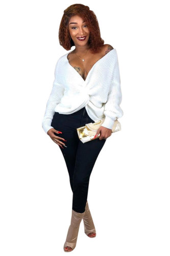 White Cotton Polyester V Neck Long Sleeve Solid Sweaters & Cardigans DZ887