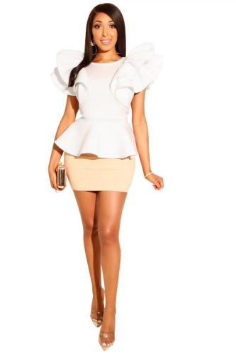 White Polyester Sexy Fashion Patchwork ruffle Hip skirt Two-Piece Dress WN501182