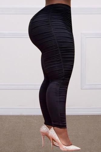 Black Polyester Fashion adult Ma'am OL Solid Draped Plus Size