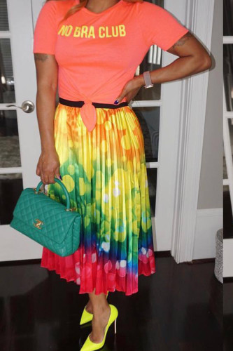 Red and yellow Polyester Elastic Fly High Geometric Draped Dot Gradient Pleated skirt Capris Skirts