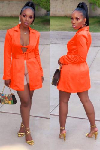 Orange Notched Bandage Solid Patchwork Polyester Pure Long Sleeve Coats & Cardigan WY361222