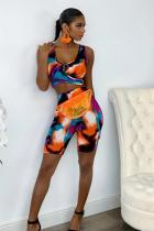 Multi-color Polyester Casual Fashion crop top Two Piece Suits Tie Dye Regular Two-Piece Short Set HM93174