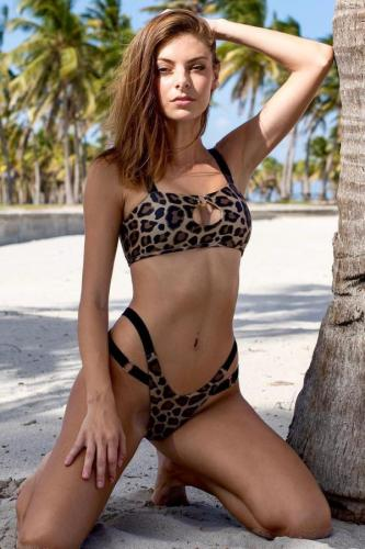 Leopard print Polyester crop top Hooded Out backless Asymmetrical Leopard Sexy Fashion Tankinis Set CS861287