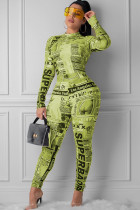 Yellow Sexy zipper letter Print Polyester Long Sleeve O Neck Jumpsuits SI110044