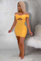 Yellow Polyester Sexy Fashion Off The Shoulder Sleeveless One word collar Step Skirt skirt Solid Club Dres