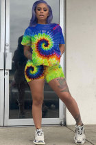 Blue Polyester Casual Fashion Patchwork Tie Dye Print Straight Two-Piece Short Set LQ28040