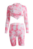 rose red Polyester Casual Patchwork Print Tie Dye pencil Long Sleeve Two Pieces