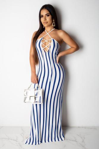 Light Blue Polyester Fashion Sexy Tank Sleeveless O neck Step Skirt Floor-Length split Patchwork Print