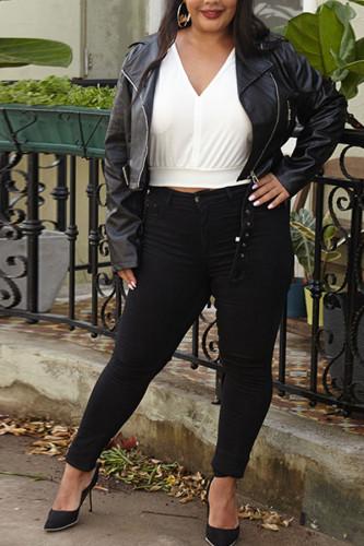 Black PU Sexy Turndown Collar Solid tassel Tassel Plus Size