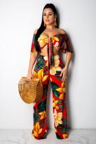 Red Polyester Fashion Sexy Casual Print Zippered Patchwork Straight Two-piece Pants Set SMR391197