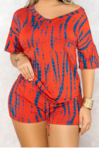 Red Polyester Sexy Print pencil Half Sleeve Two Pieces