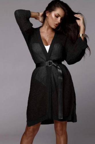 Black Solid Polyester Cover-Ups & Beach Dresses