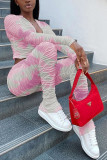 Pink Fashion Casual Polyester Cotton Blends Knitting Patchwork Print Split Joint Tie-dye Pants Long Sleeve Regular Sleeve Short Two Pieces