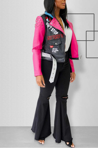 Pink PU Lightly cooked Turndown Collar Patchwork Print contrast color Zippered Fluorescent Pattern Plus Size