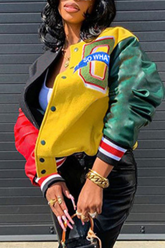 multicolor Street Polyester Patchwork Print Buckle O Neck Outerwear