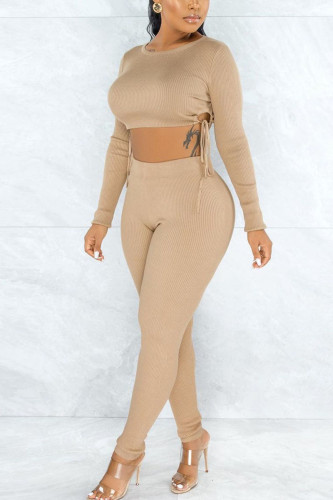 Apricot Fashion Sexy Adult Cotton Solid Split Joint O Neck Long Sleeve Regular Sleeve Short Two Pieces
