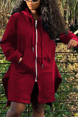 Wine Red Fashion Sexy Adult Polyester Solid Split Joint O Neck Outerwear