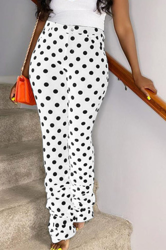 White Daily Polyester Dot Pants Straight BOTTOMS