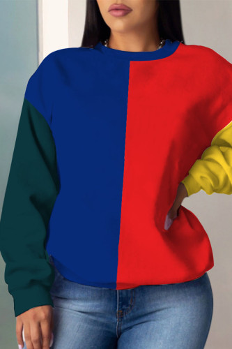 Red and blue Casual Polyester Solid Split Joint O Neck Outerwear
