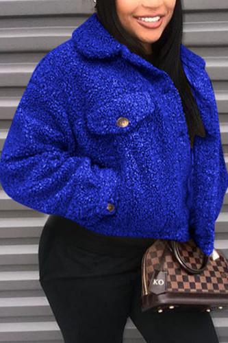 Royal blue Fashion Street Adult Plush Solid Cardigan Turndown Collar Outerwear