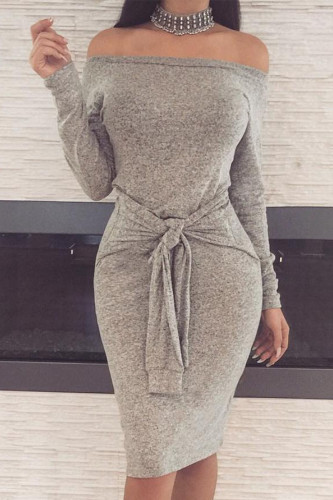 Grey Sexy Polyester Solid Split Joint Bateau Neck Long Sleeve Knee Length Pencil Skirt Dresses