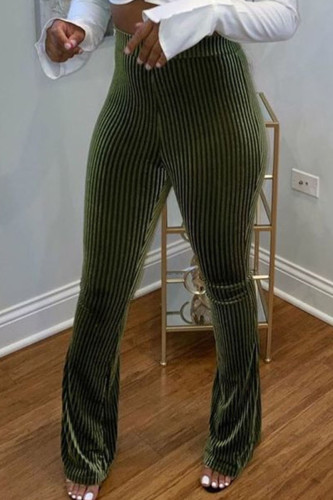 Army Green Fashion Sexy Adult PVC Solid Pants Boot Cut BOTTOMS