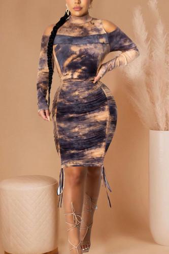 Black Sexy Daily Polyester Print O Neck Long Sleeve Knee Length Long Sleeve Dress Dresses