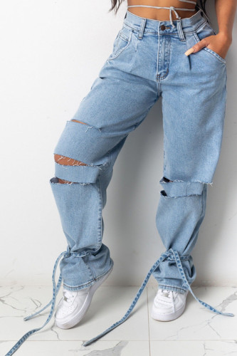 Baby Blue Fashion Casual Adult Solid Ripped Mid Waist Loose Denim