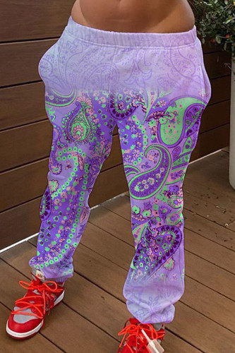 purple Fashion Casual Adult Polyester Print Pants Straight BOTTOMS